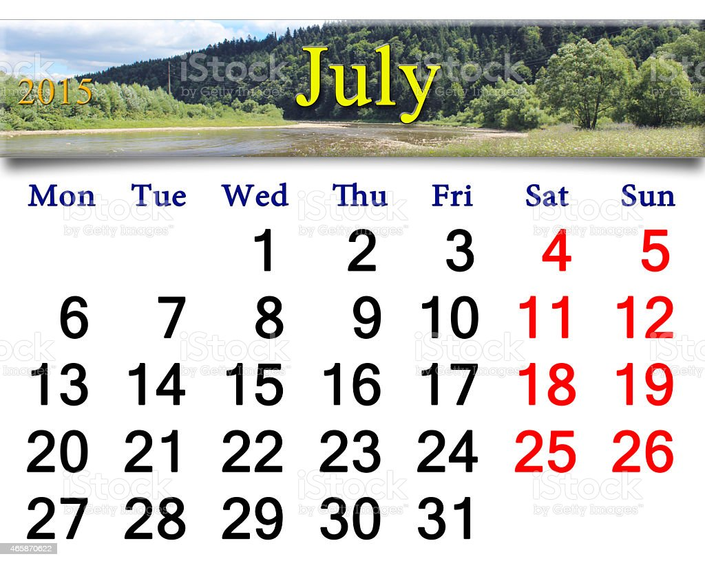 calendar for June of 2015 with speed river stock photo