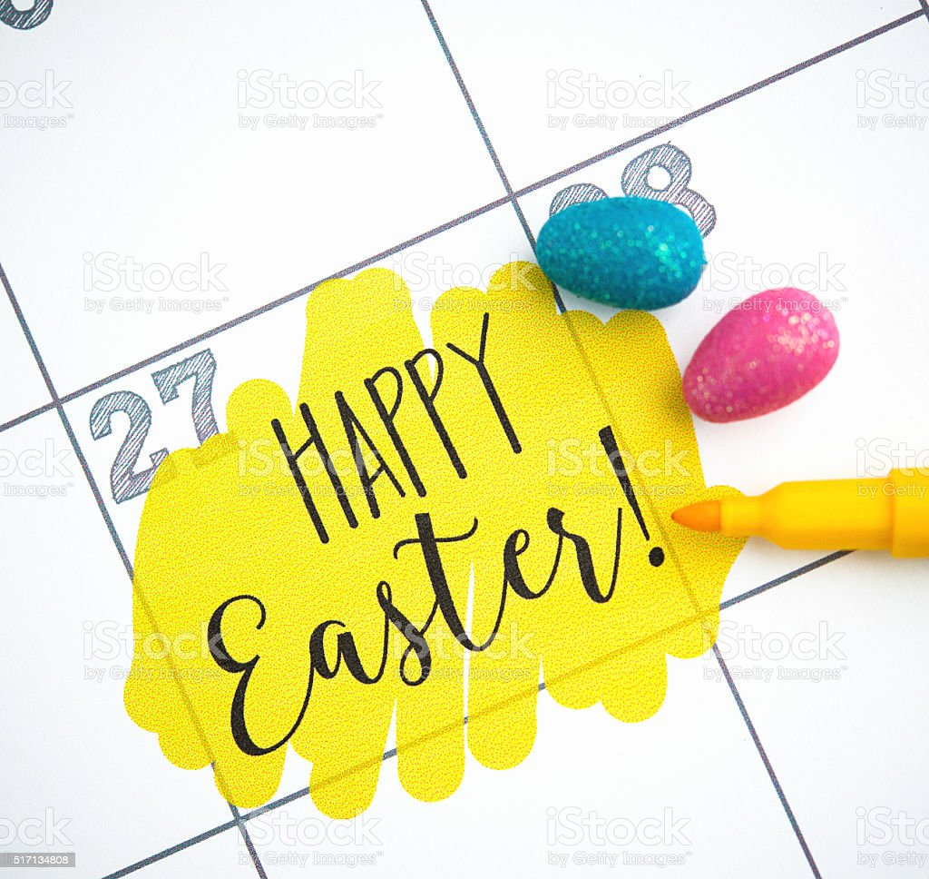 Calendar for March 2016 with Easter message and Easter eggs stock photo