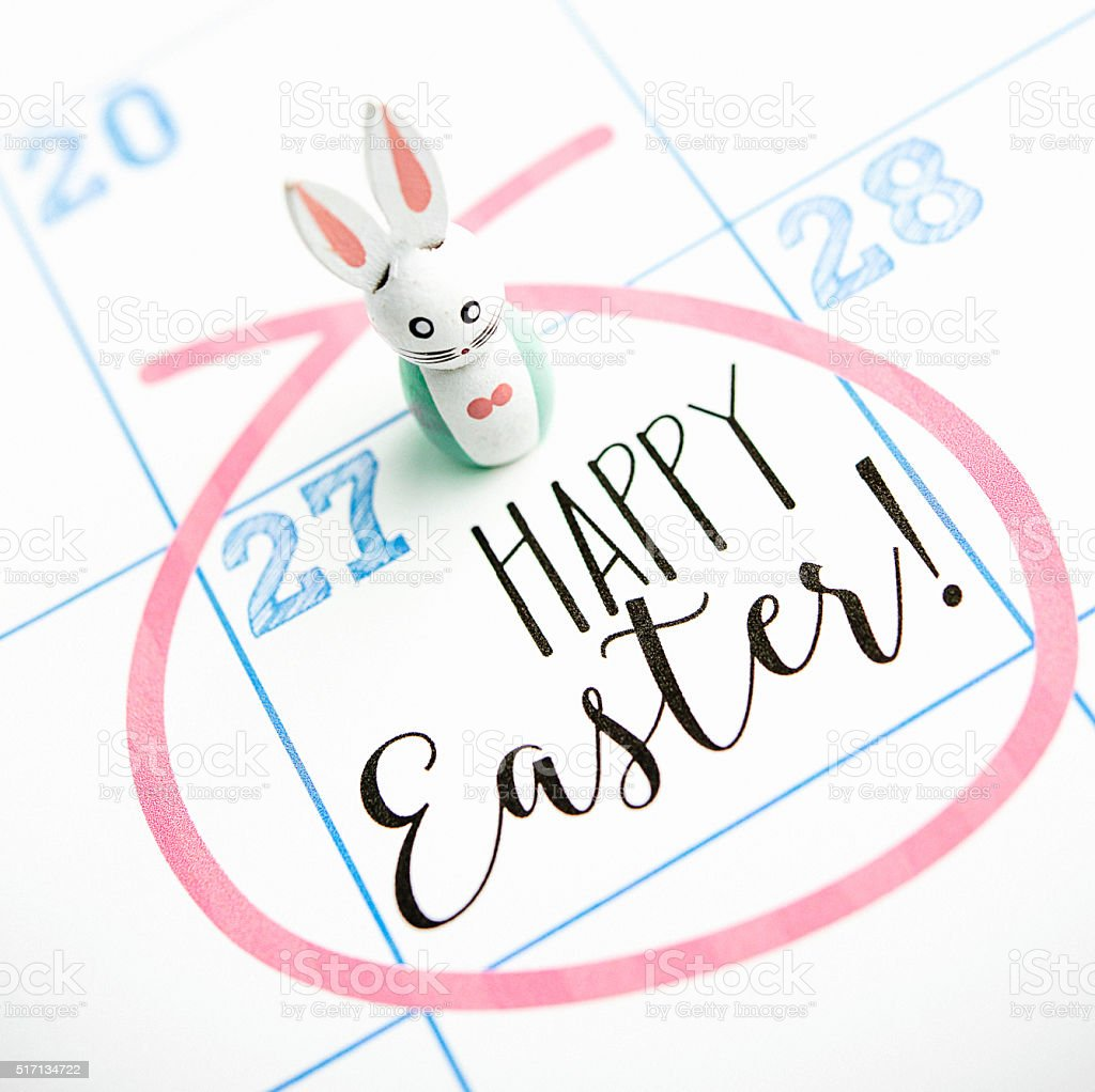 Calendar for March 2016 with Easter message and vintage bunny stock photo