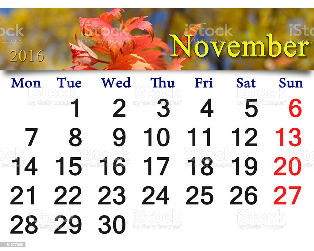 calendar for November 2016 with red autumn leaves stock photo