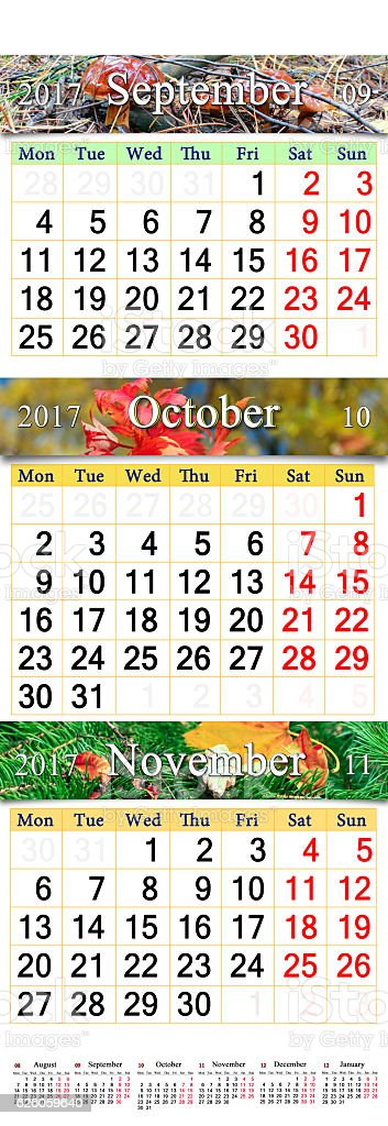 calendar for October November and December 2017 with colored pictures stock photo