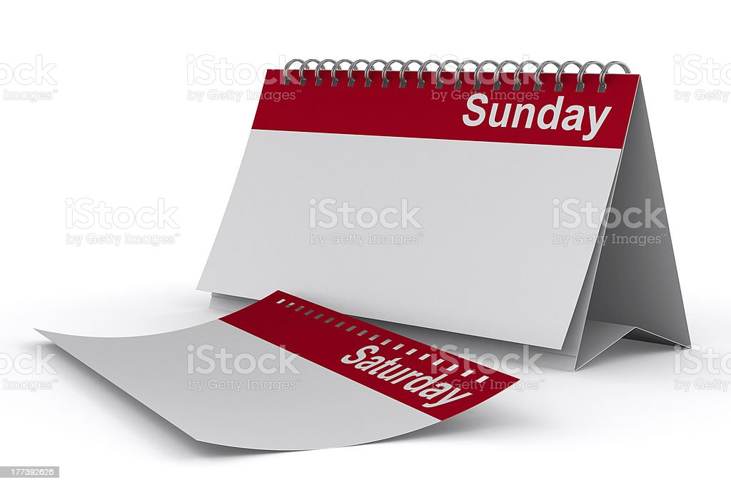 Calendar for sunday on white background. Isolated 3D image royalty-free stock photo