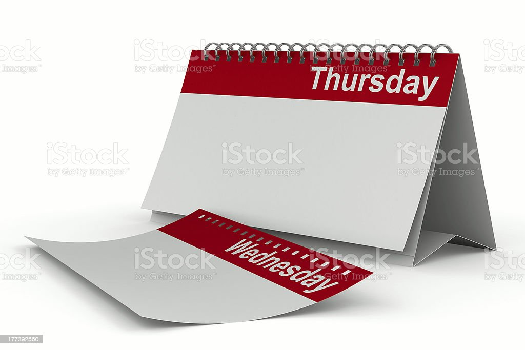 Calendar for thursday on white background. Isolated 3D image stock photo