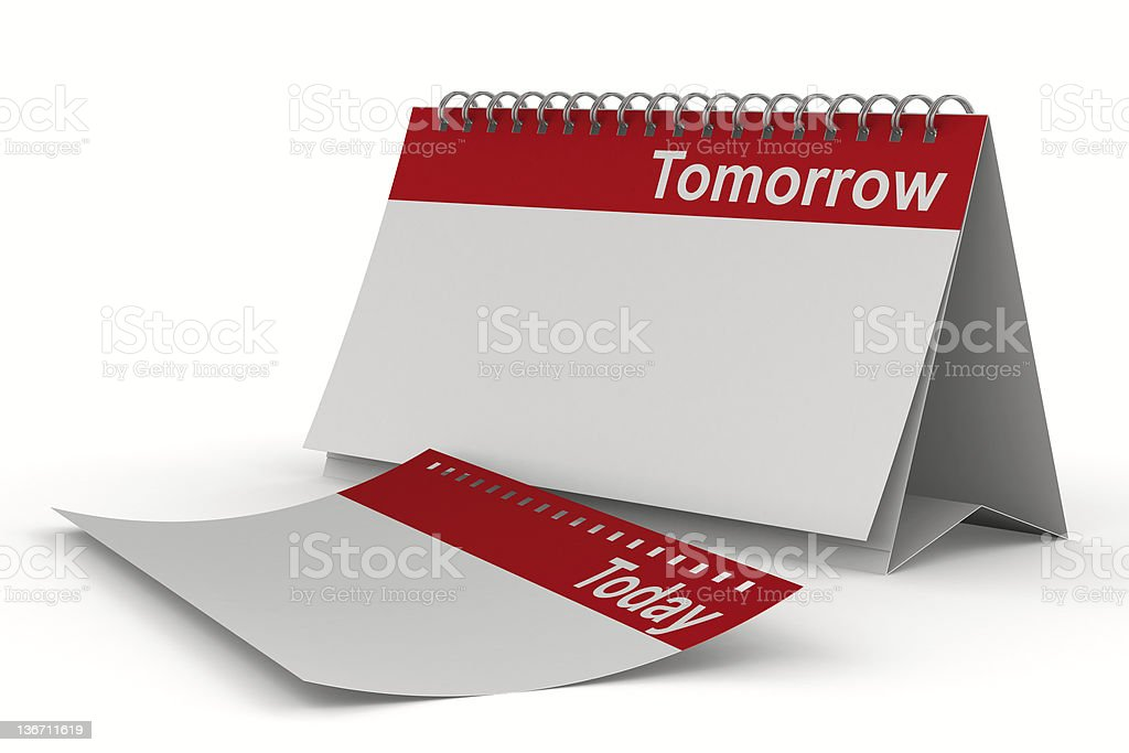 Calendar for tomorrow on white background. Isolated 3D image royalty-free stock photo