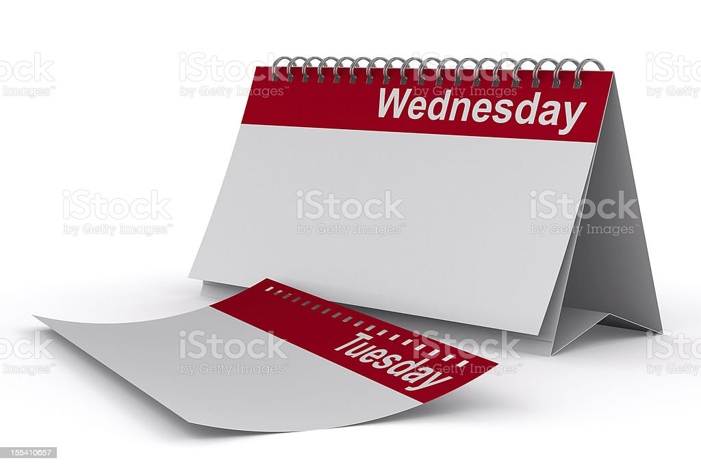Calendar for wednesday on white background. Isolated 3D image stock photo