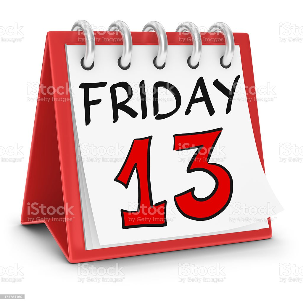 Calendar - Friday the 13th stock photo