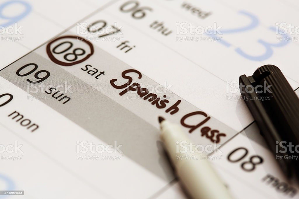 Calendar has Spanish Class marked off on a Saturday royalty-free stock photo