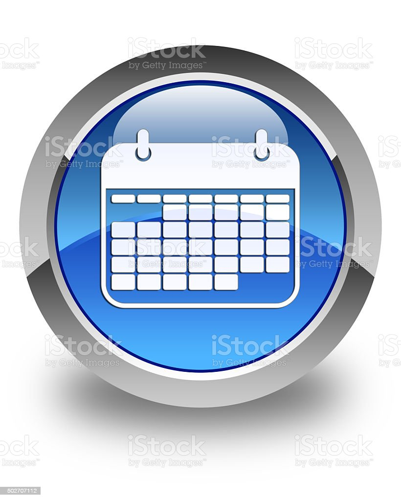 Calendar icon glossy blue round button stock photo