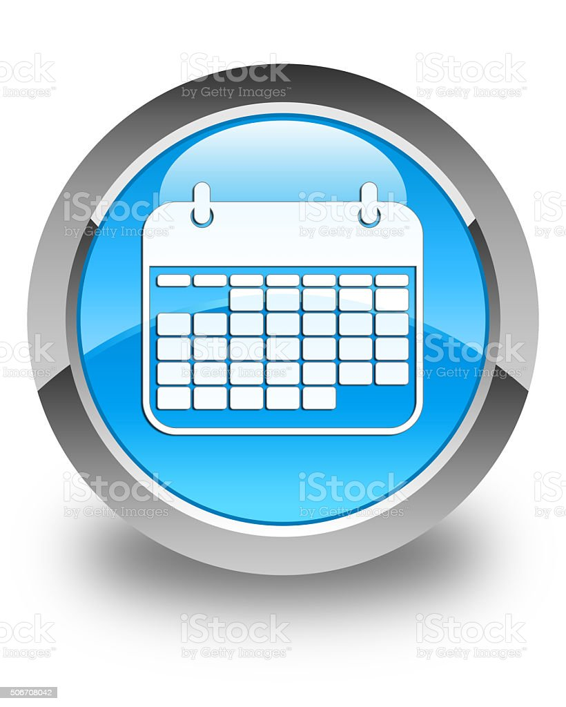 Calendar icon glossy cyan blue round button stock photo