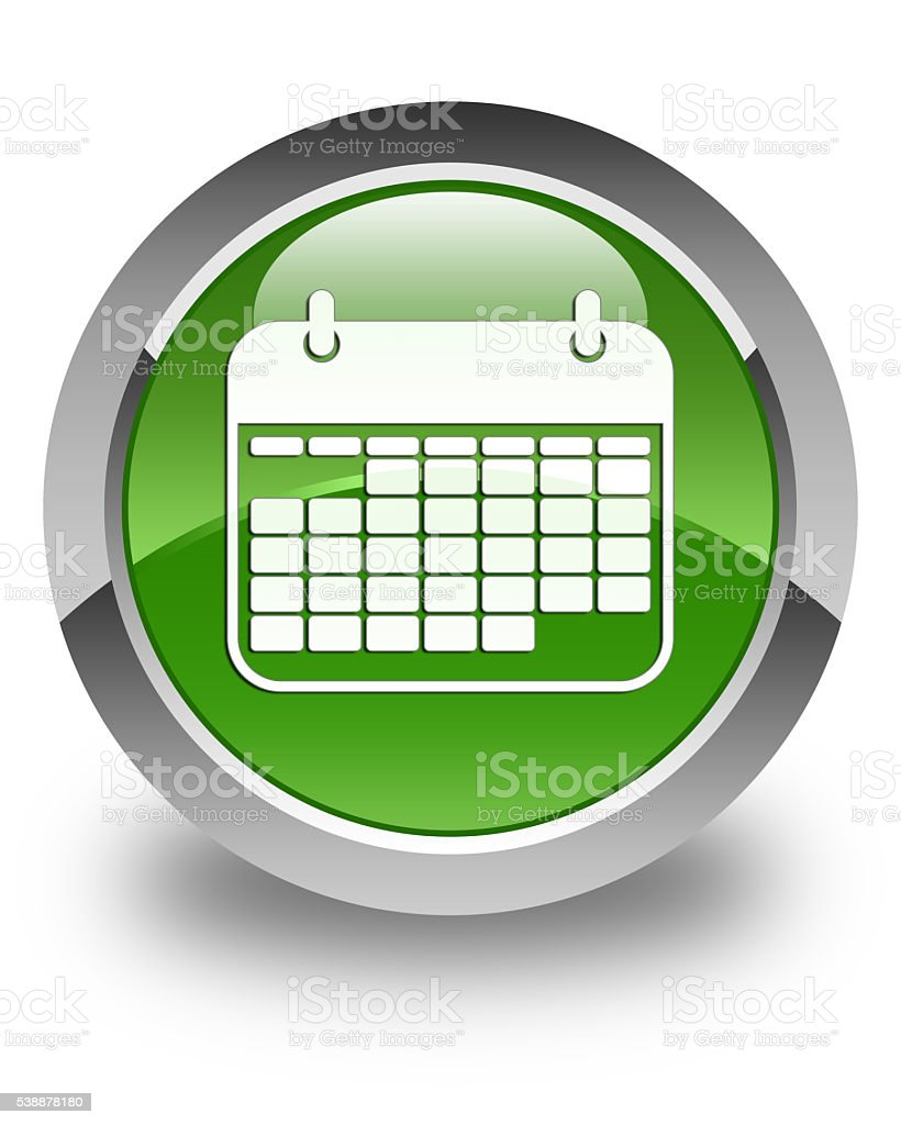 Calendar icon glossy soft green round button stock photo