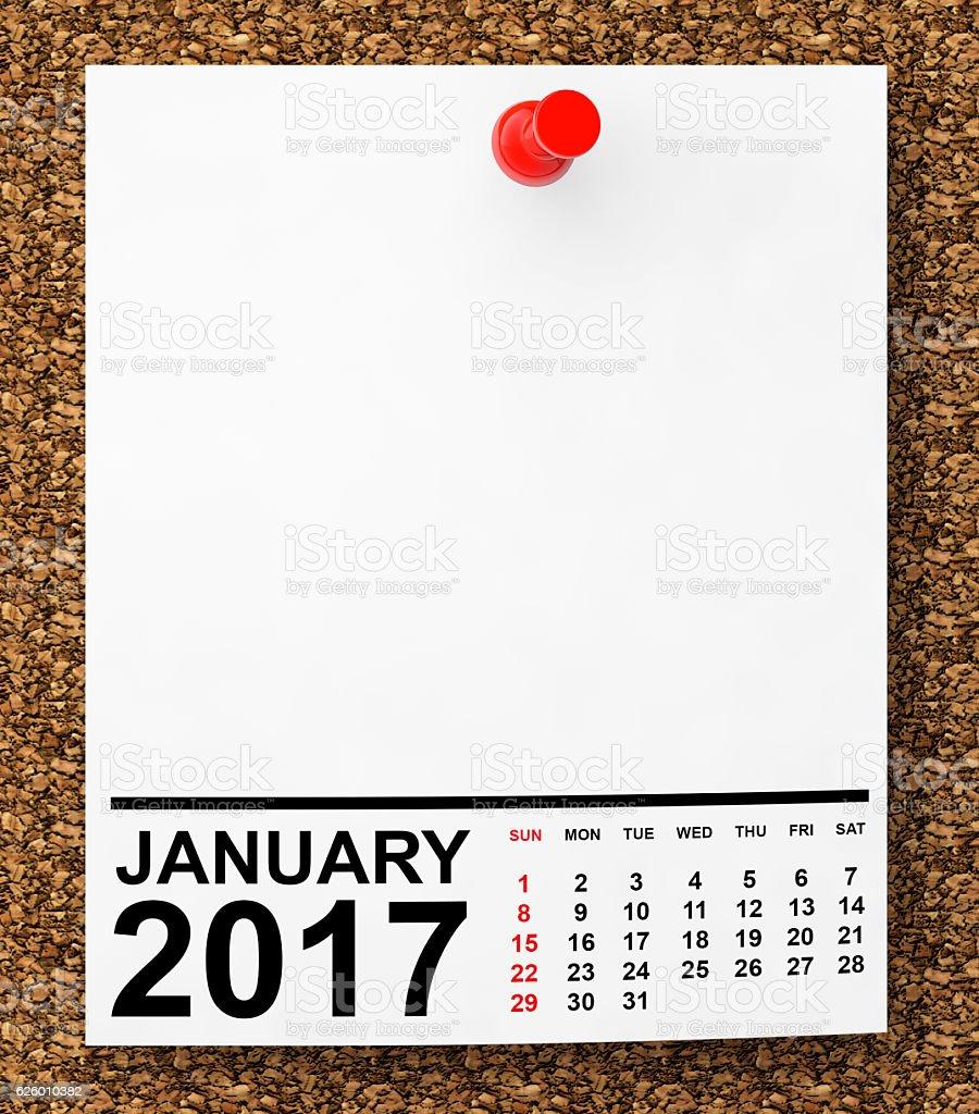 Calendar January 2017. 3d Rendering stock photo