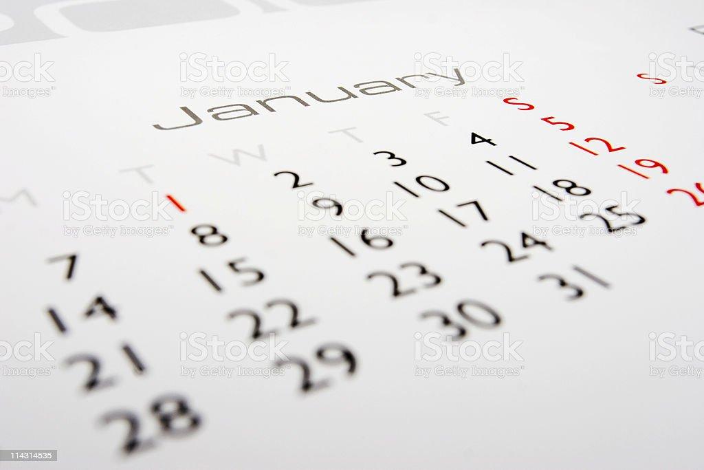 Calendar: January stock photo