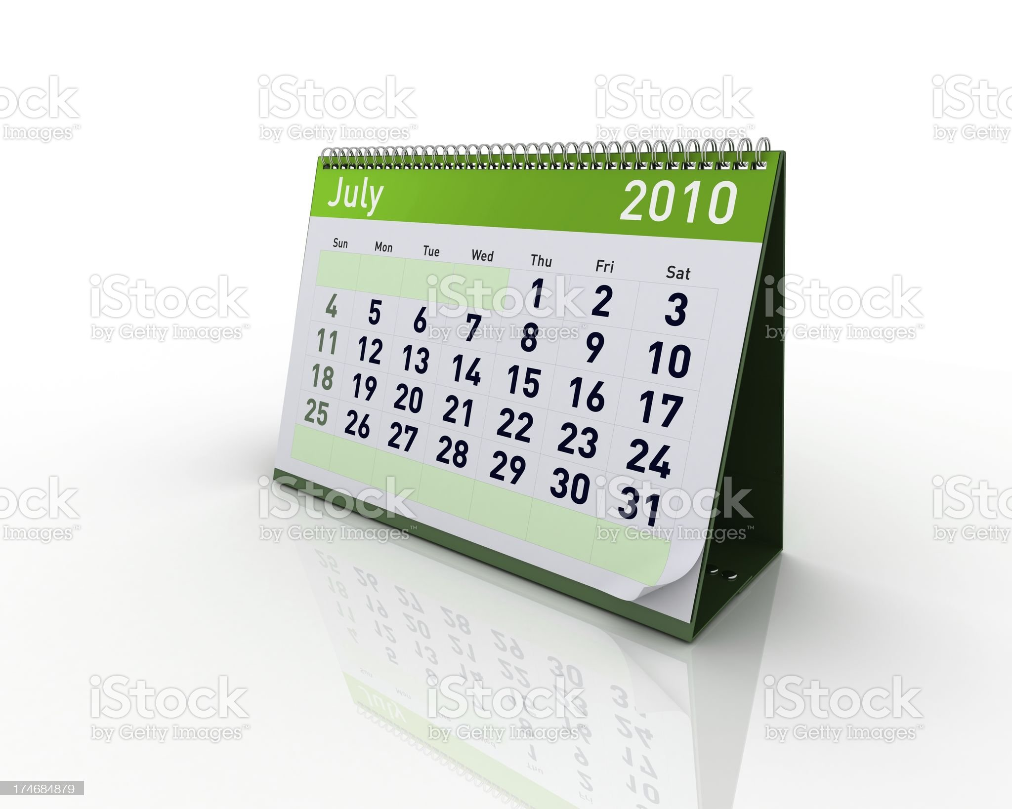 Calendar - July 2010 royalty-free stock photo