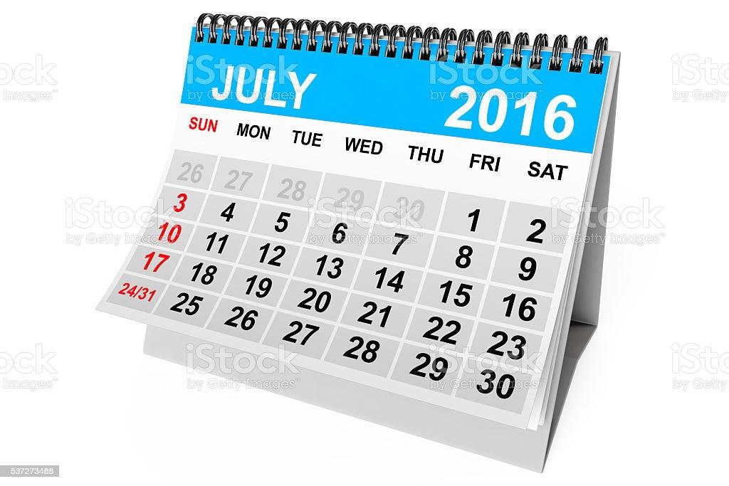 Calendar July 2016. 3d Rendering stock photo