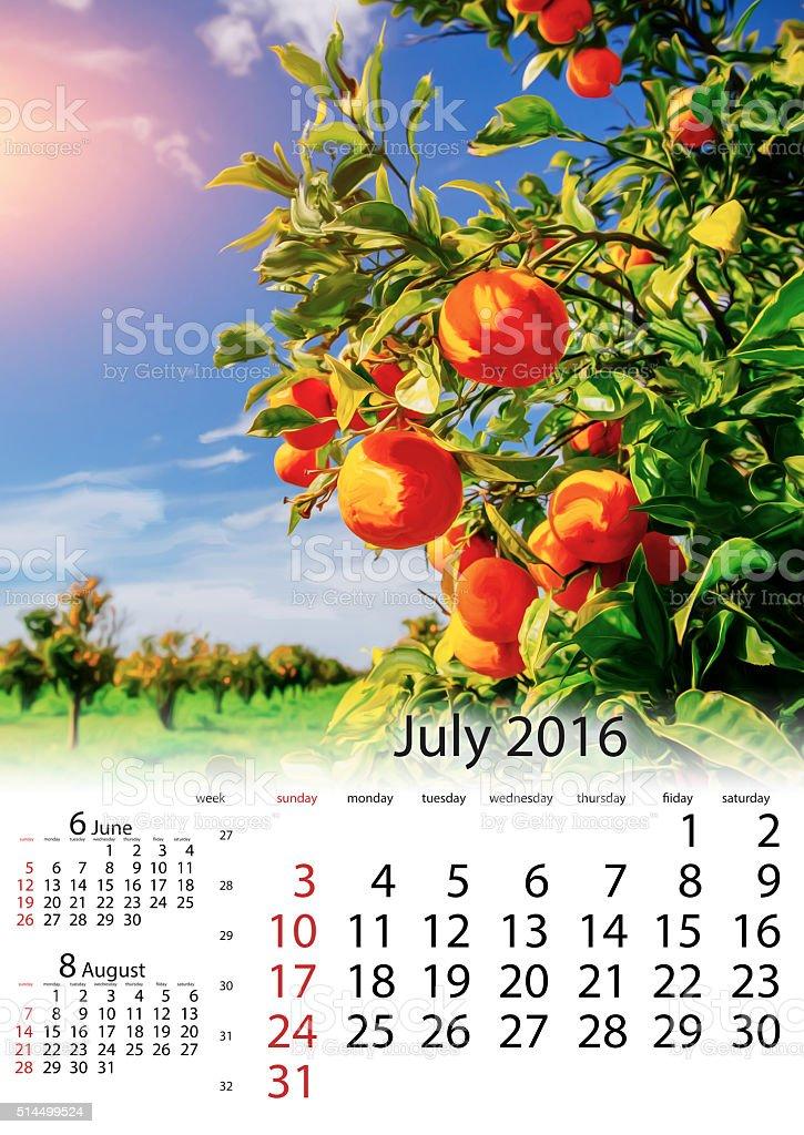 Calendar July 2016 - branch orange tree. stock photo