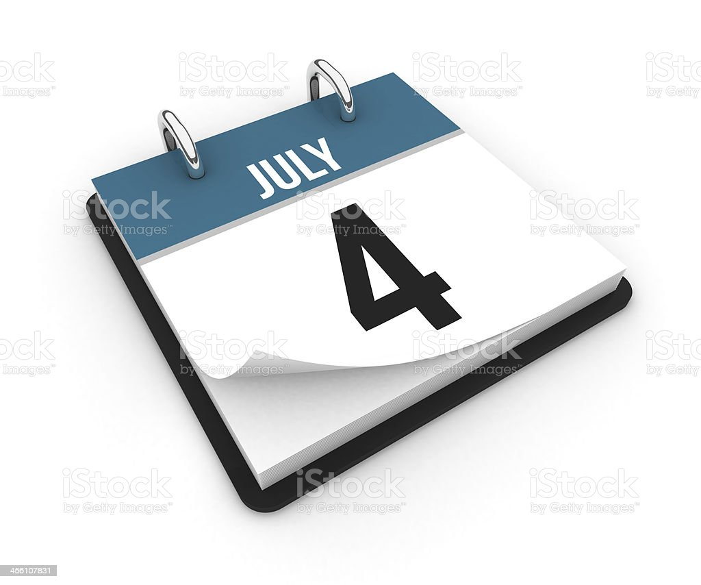 Calendar - July 4 royalty-free stock photo