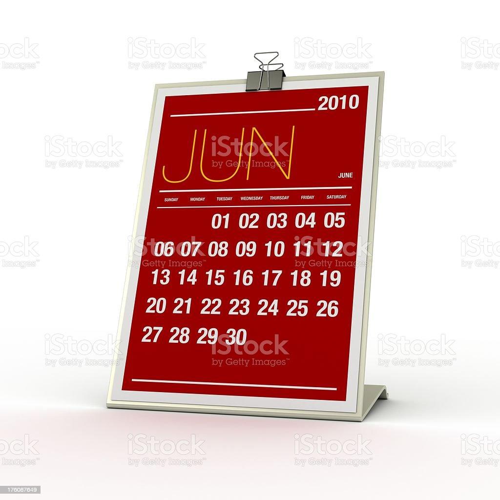 Calendar - June 2010 royalty-free stock photo