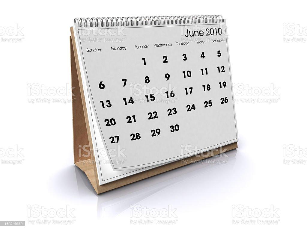 Calendar June 2010 royalty-free stock photo