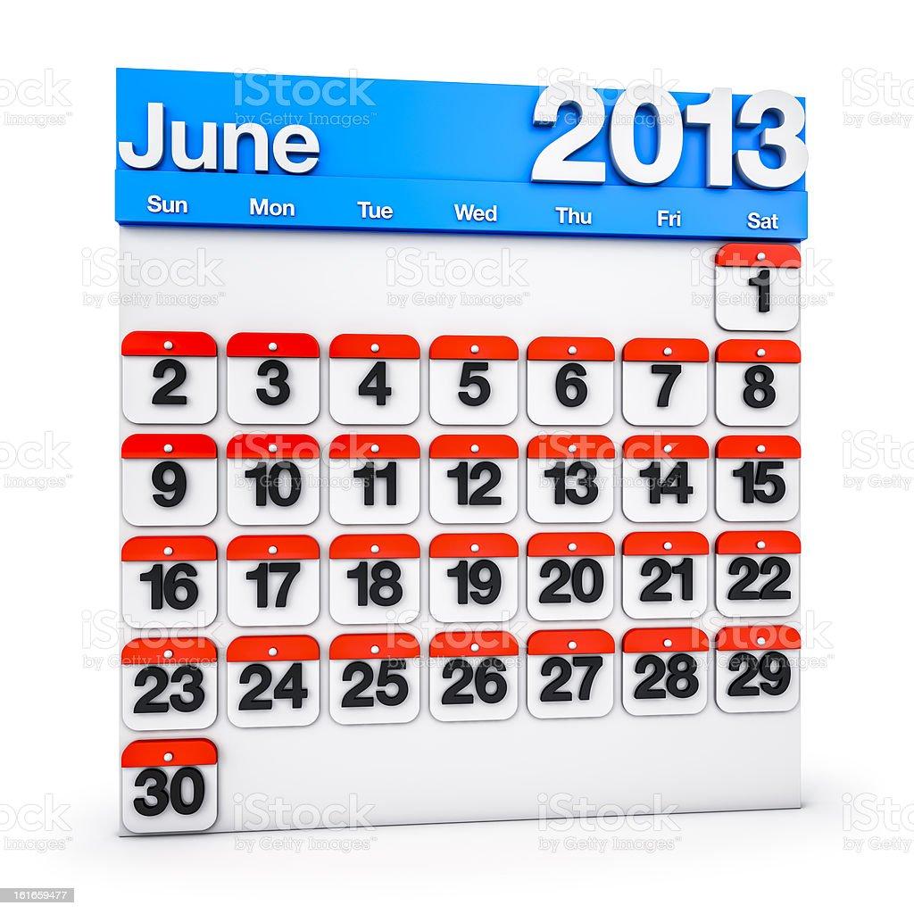Calendar June 2013 royalty-free stock photo