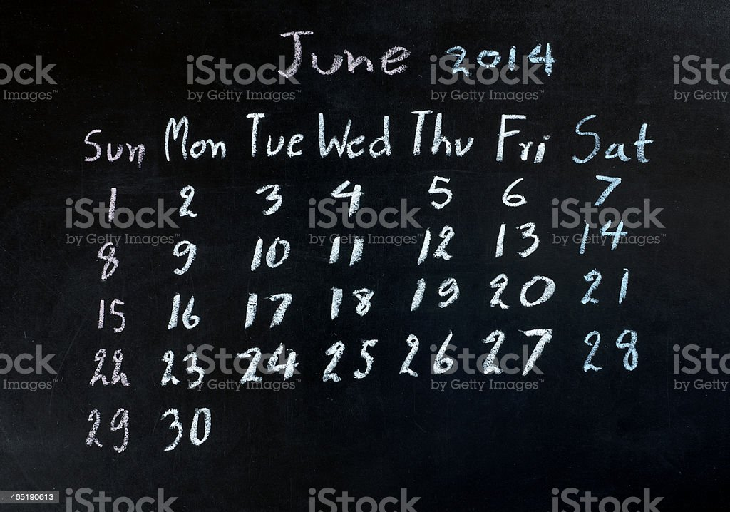 calendar 'june 2014' stock photo