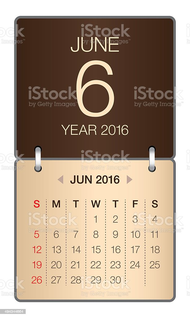 Calendar- June 2016 stock photo