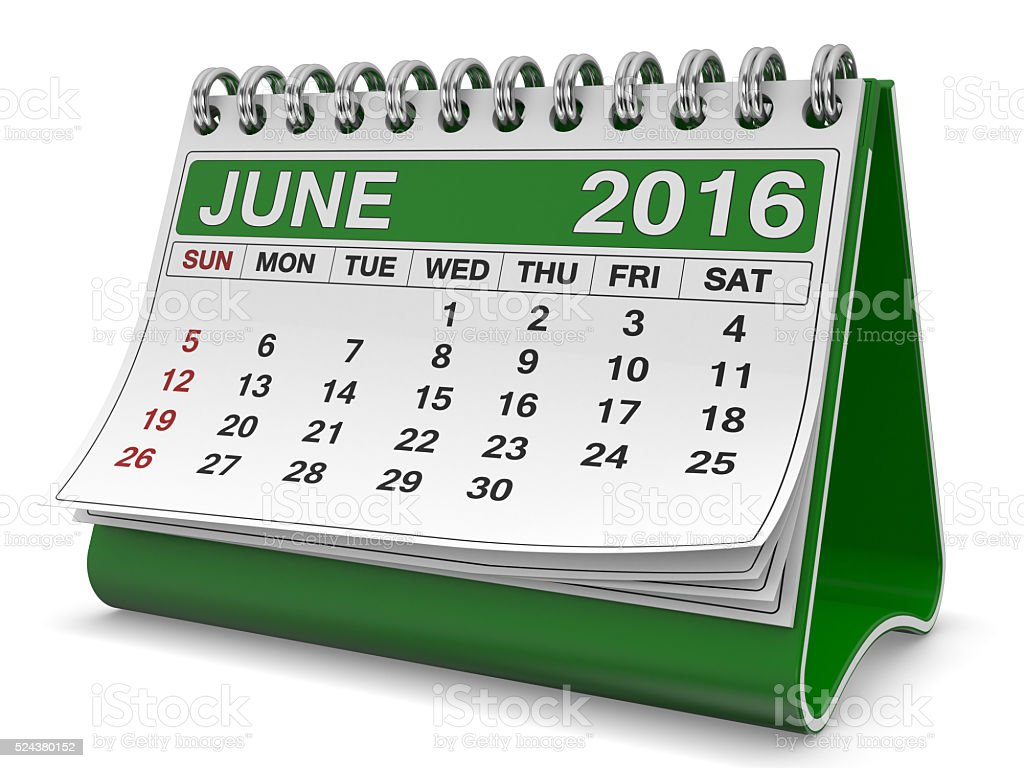 calendar june 2016 stock photo