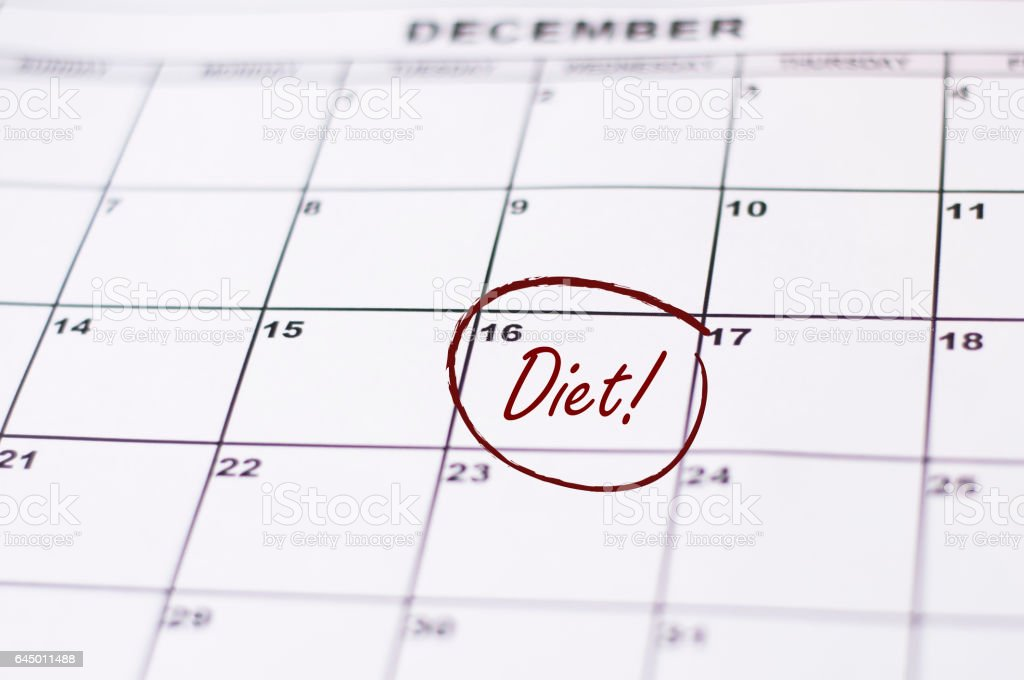 calendar marking the start of a new year resolution diet stock photo