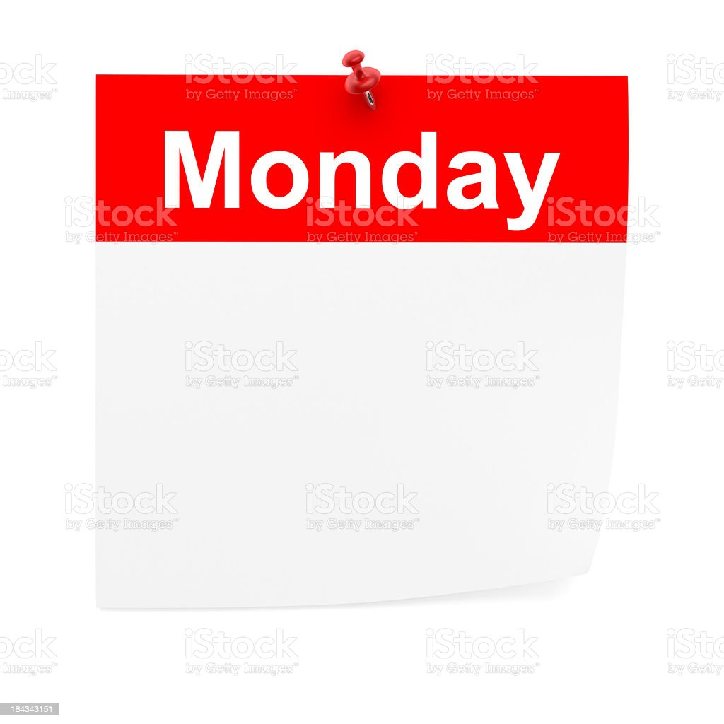 Calendar Monday Blank pushpin and note business office royalty-free stock photo