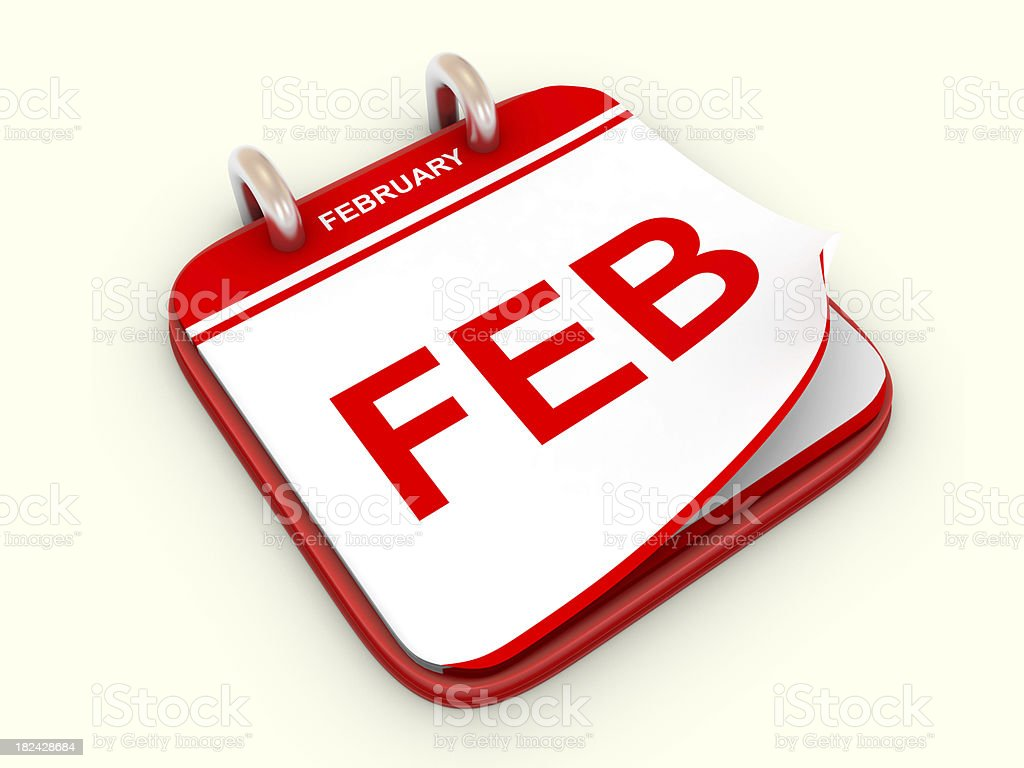 Calendar month February royalty-free stock photo