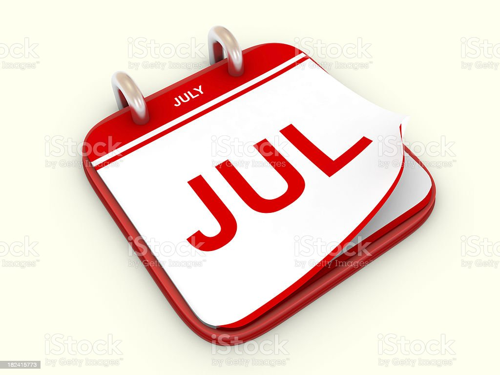 Calendar month July royalty-free stock photo