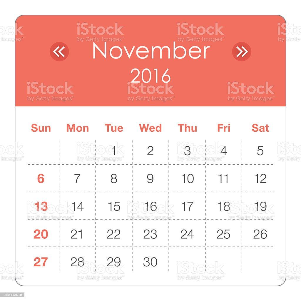 Calendar- November 2016 stock photo
