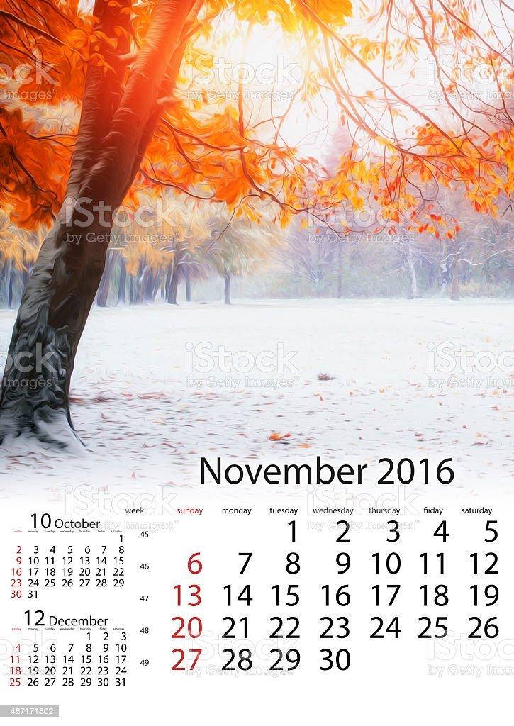 Calendar November 2016 - Sunlight breaks through the autumn leav stock photo