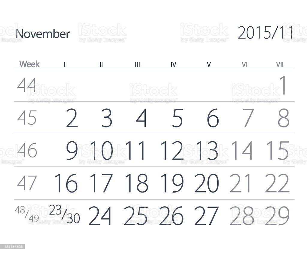 Calendar. November stock photo