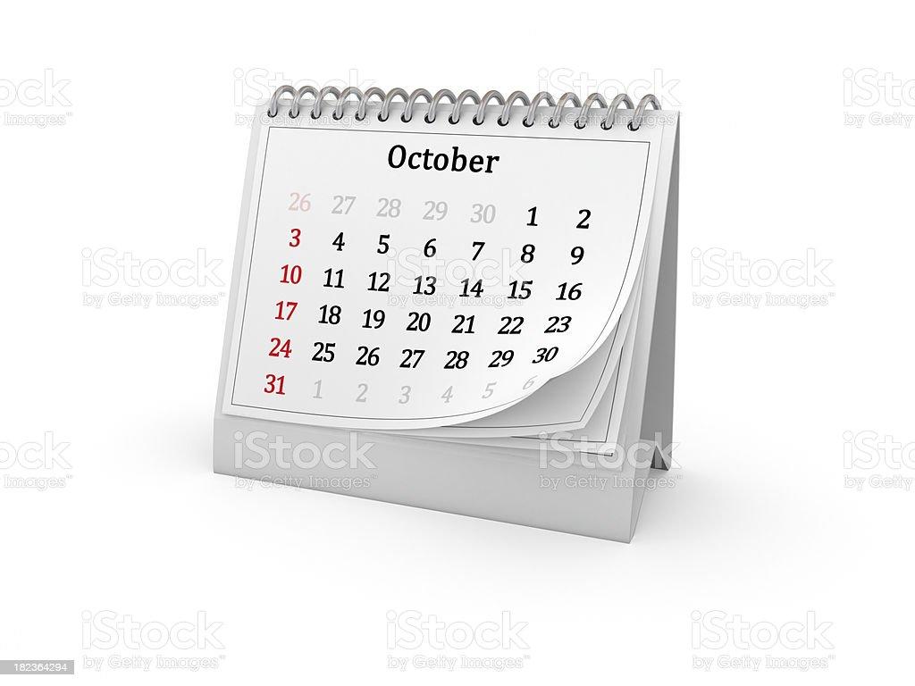 Calendar. October 2010. royalty-free stock photo