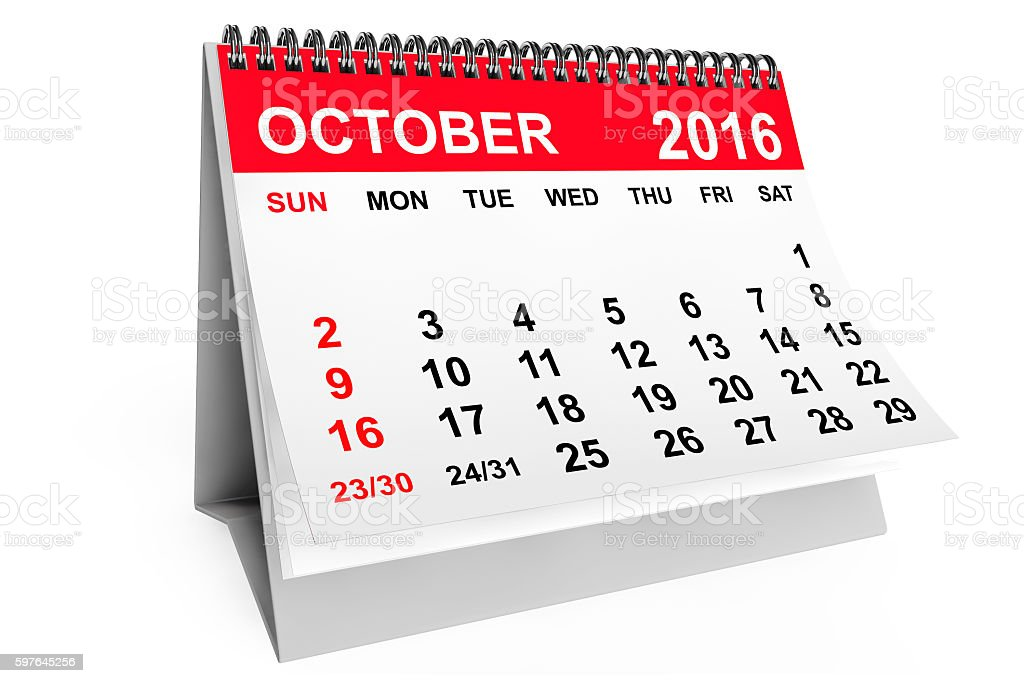 Calendar October 2016. 3d rendering stock photo