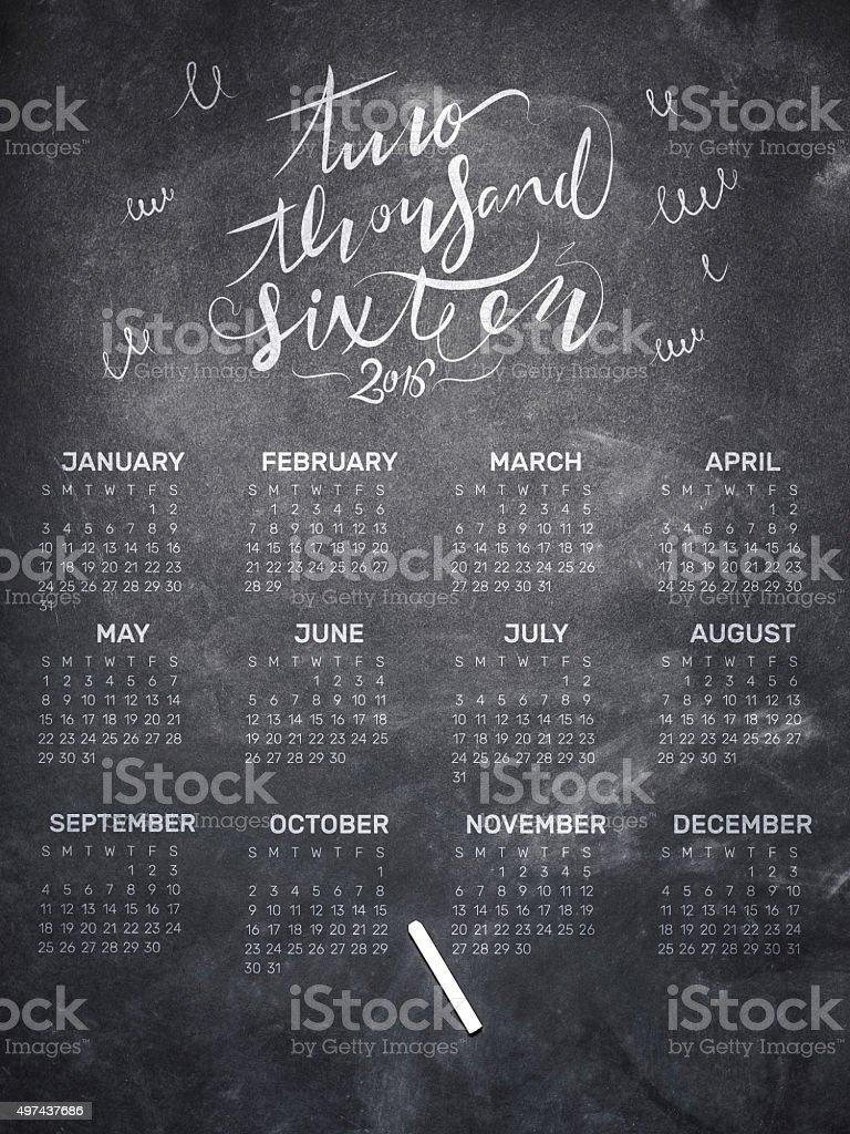 Calendar of 2016 year on blackboard stock photo