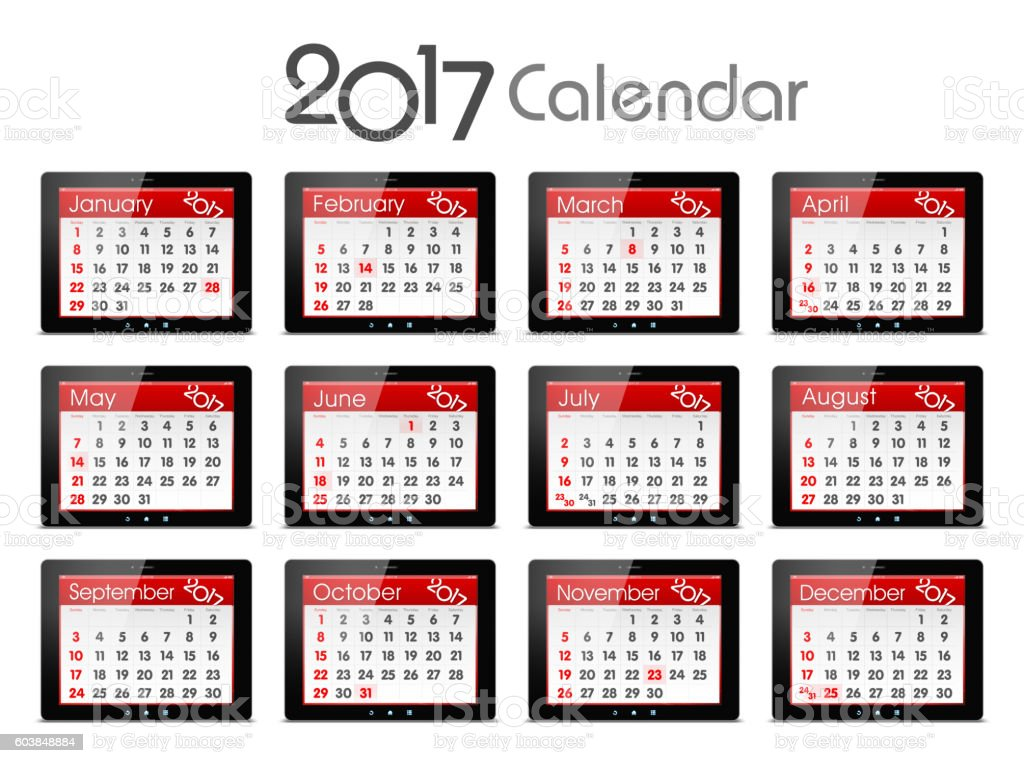Calendar of 2017 with digital tablet isolated on white background stock photo