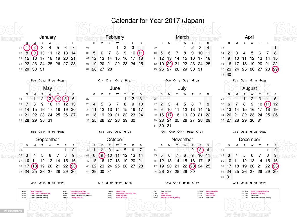 Calendar of year 2017 with public holidays and bank holidays stock photo