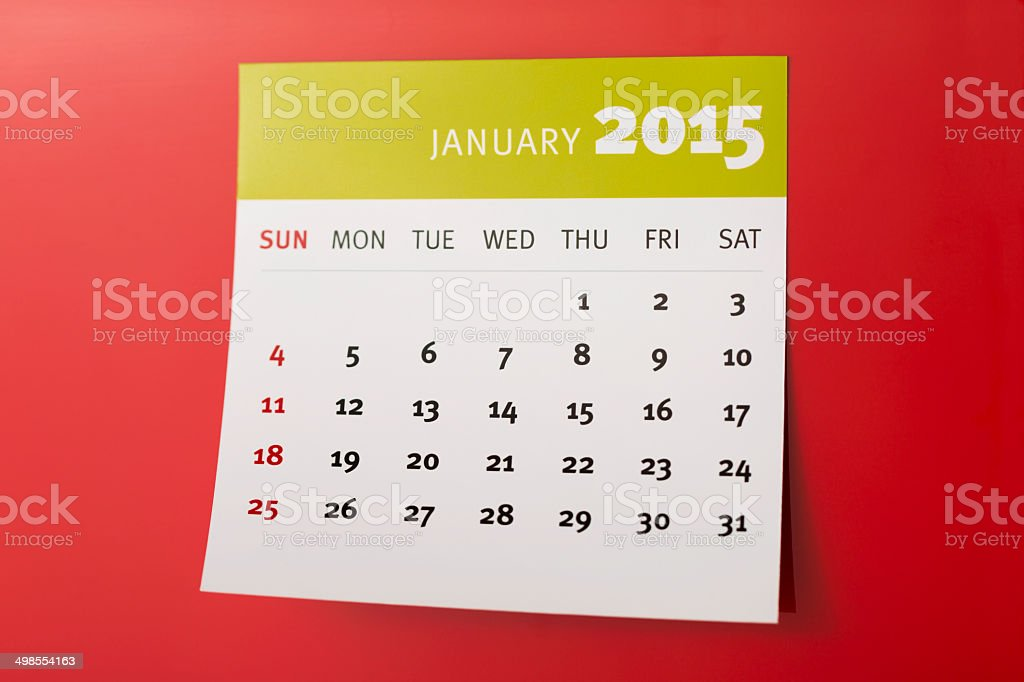 JANUARY 2015 calendar on a red background royalty-free stock photo