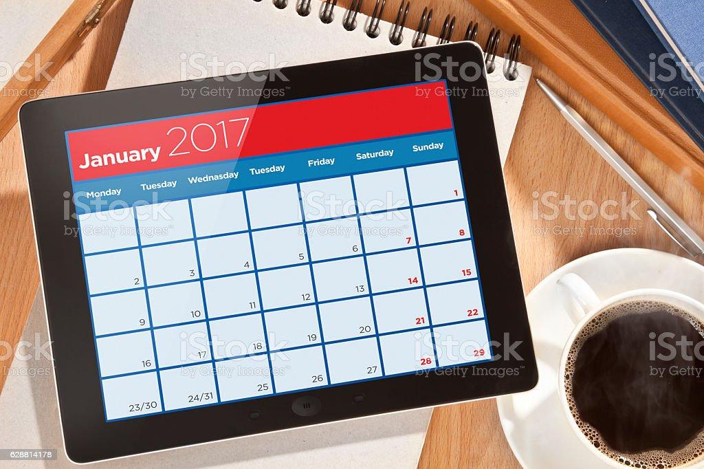 Calendar on Digital tablet stock photo