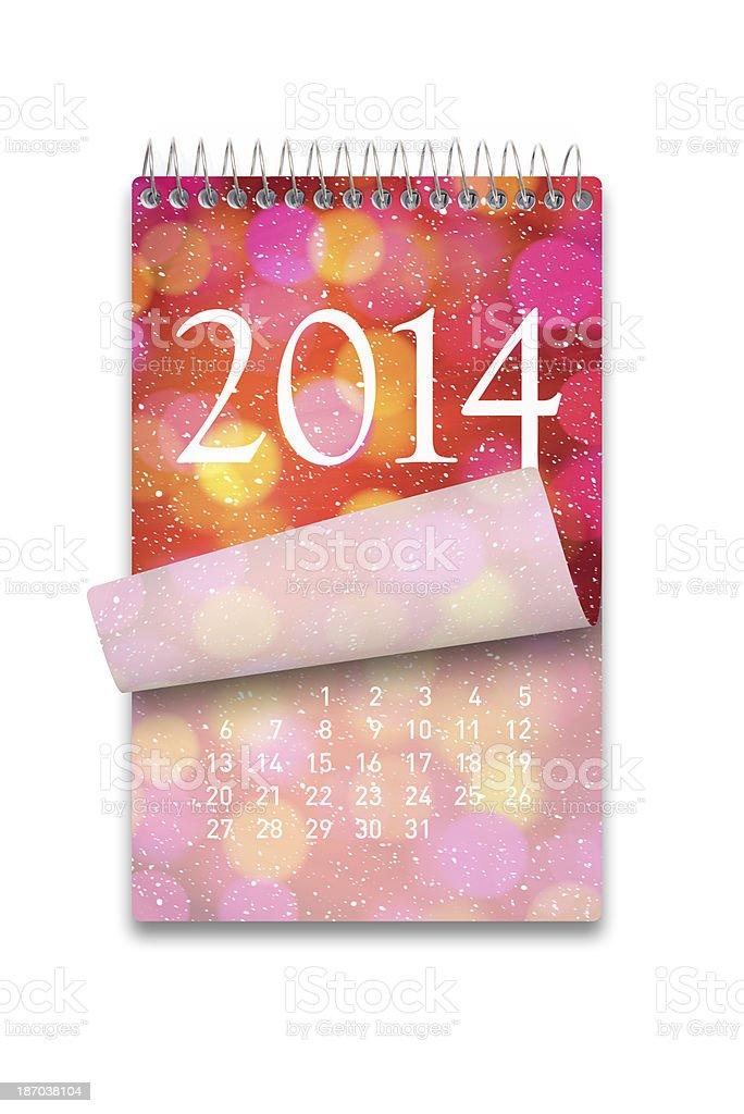 2014 Calendar on white background royalty-free stock photo