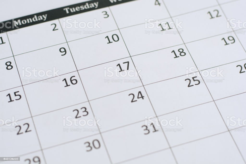 calendar page background stock photo