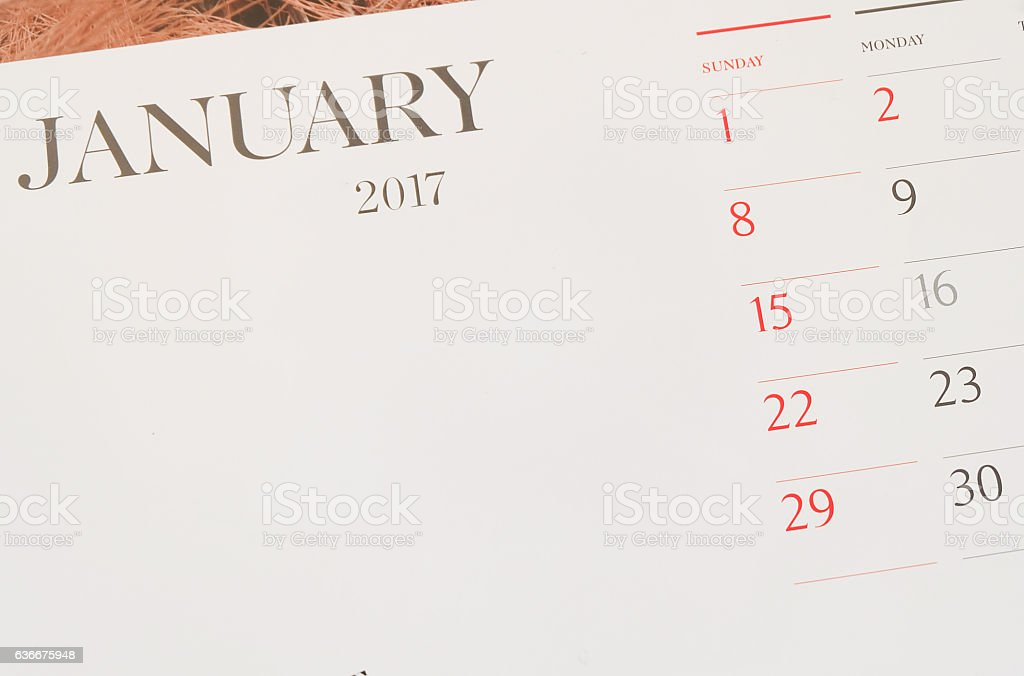 calendar page New year 2017 concept.Close up on 1 January stock photo