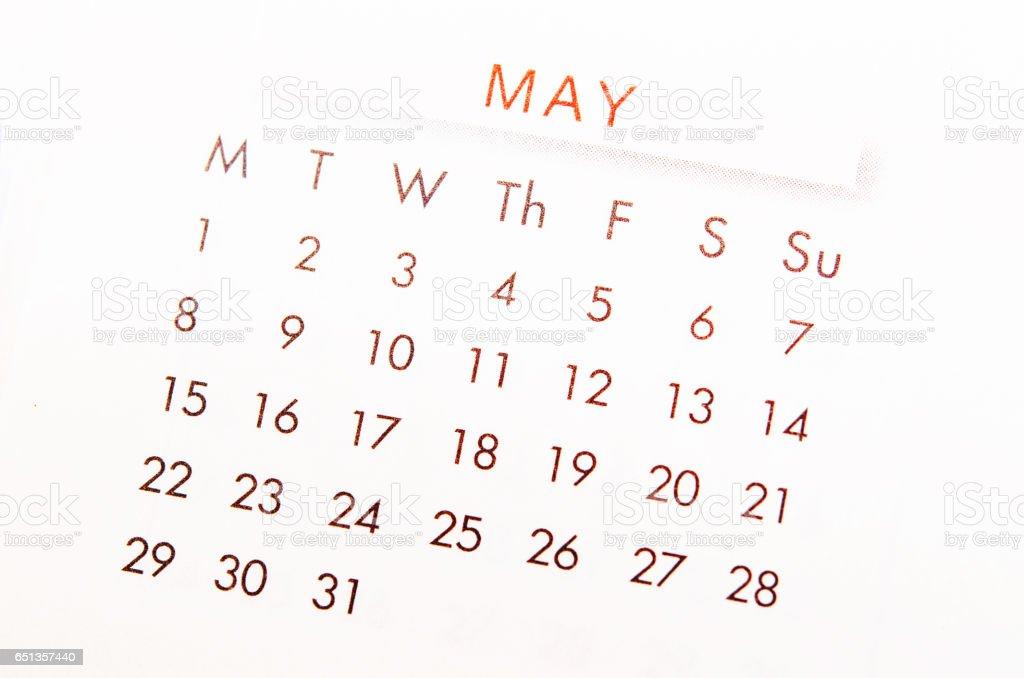 MAY calendar page. stock photo