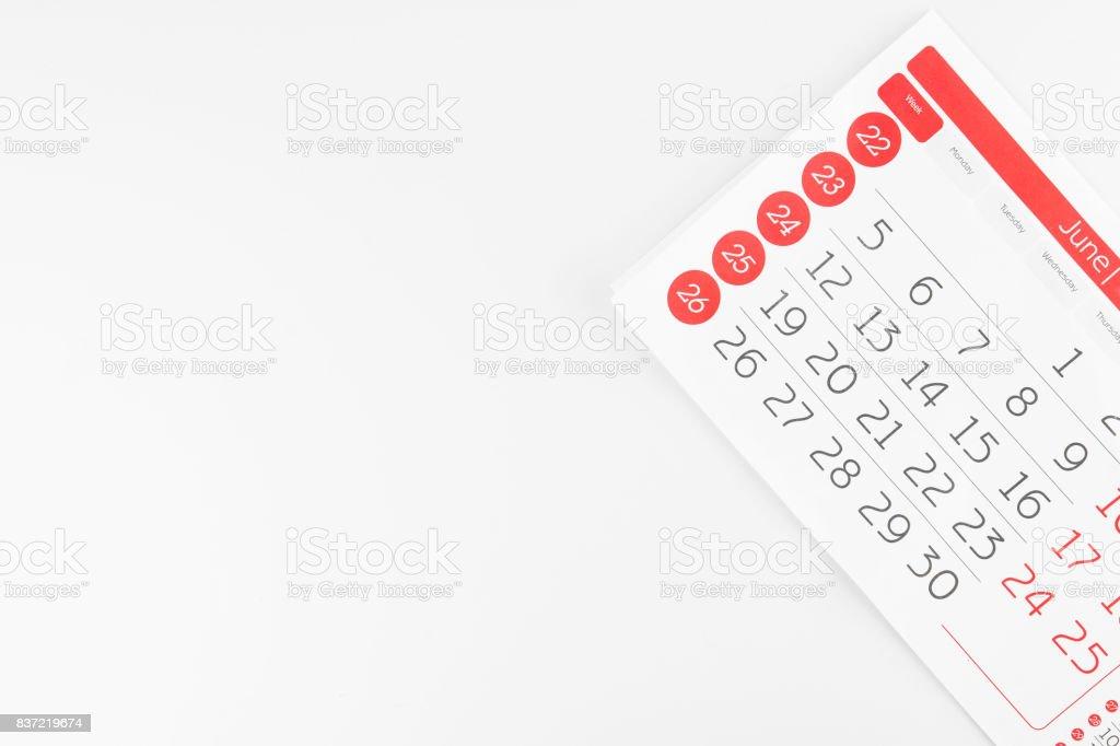 Calendar Paper Sheet stock photo