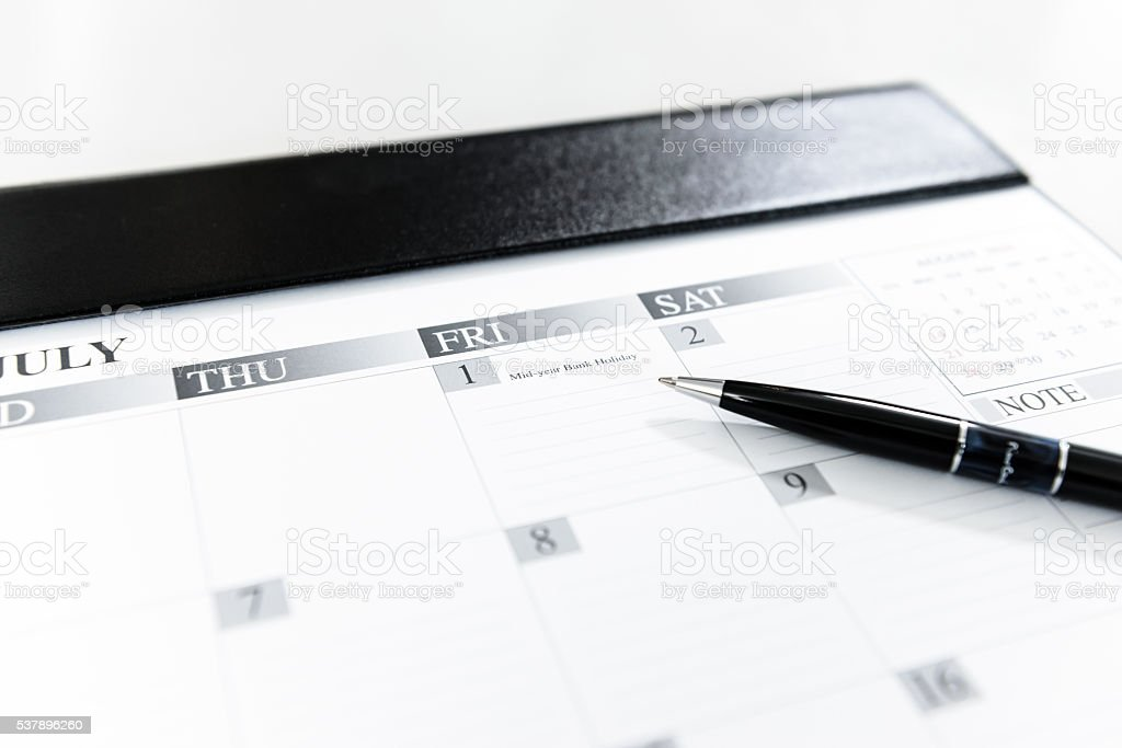 Calendar Schedule July 1 - Mid-year Bank Holiday in Thailand stock photo