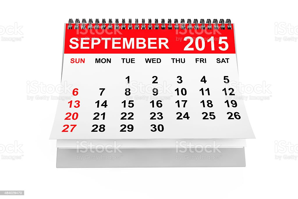 Calendar September 2015 stock photo