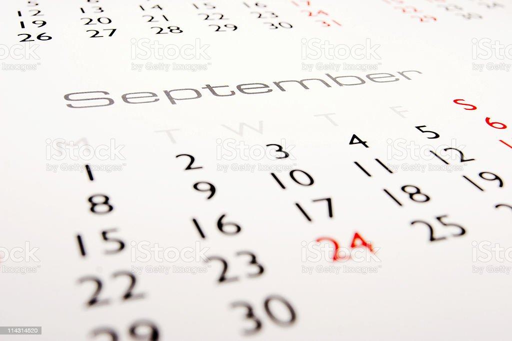 Calendar: September royalty-free stock photo