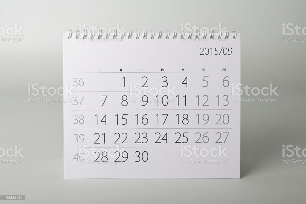 Calendar. September stock photo
