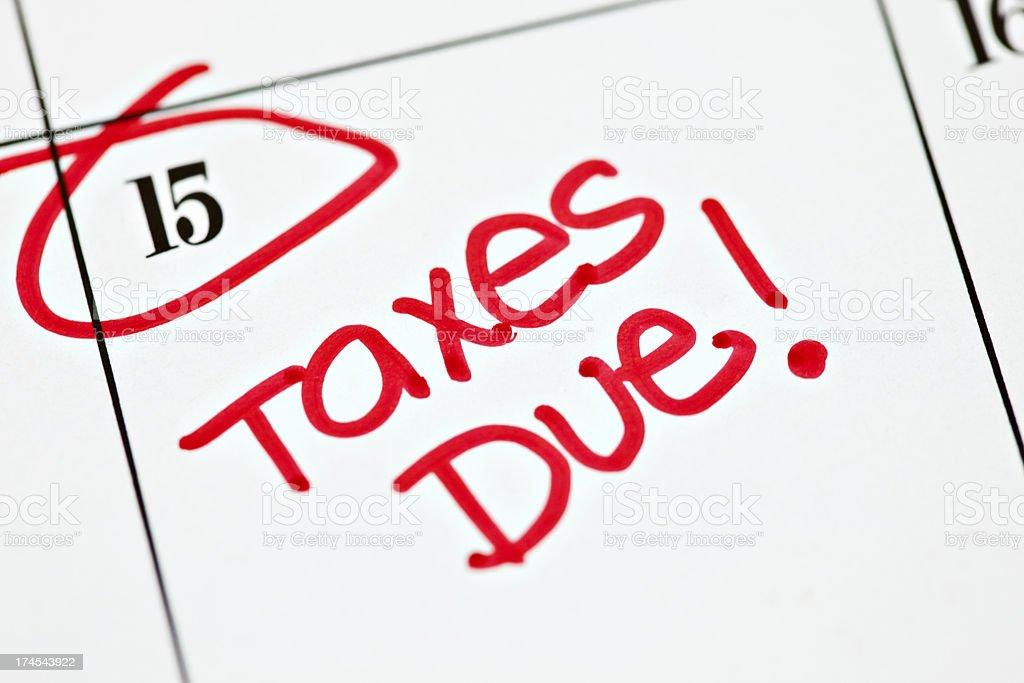 Calendar Series | Taxes Due royalty-free stock photo
